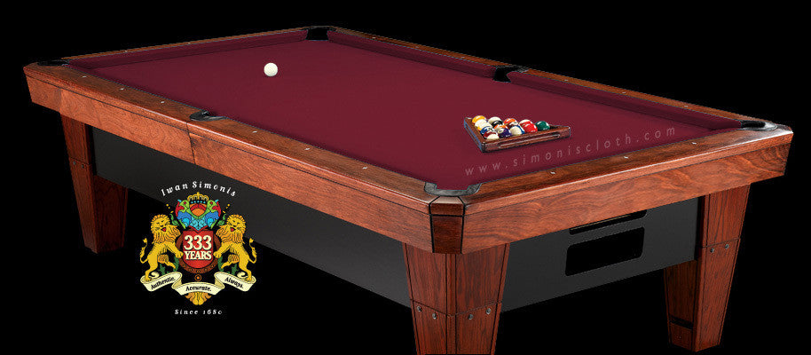 9' Simonis 860 Pool Table Cloth - Wine
