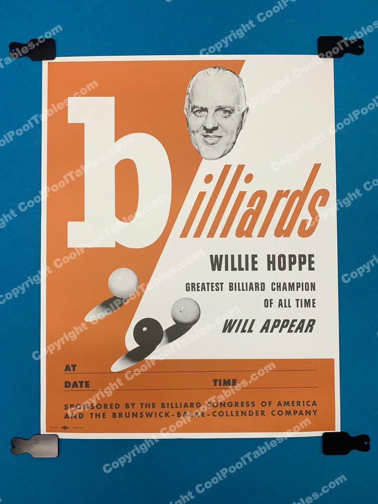 Billiard Poster - Willie Hoppe