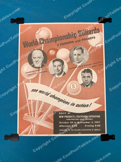 Billiard Poster - Willie Hoppe, Art Rubin, Willie Mosconi, Jimmy Caras