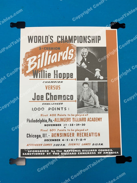 Billiard Poster - Willie Hoppe, Joe Chamaco