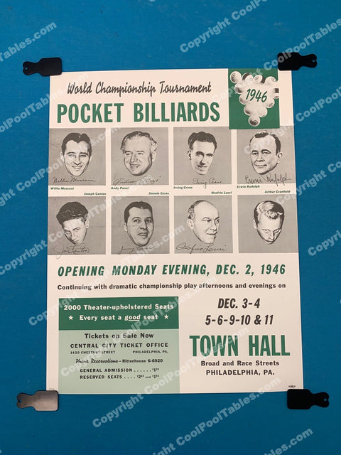 Billiard Poster - 1946 World Championship Tournament