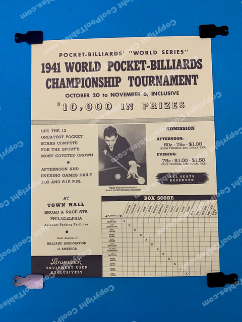 Billiard Poster - 1941 World Pocket Billiards Championship Tournament