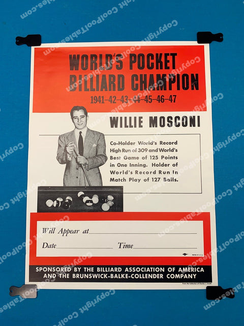 Billiard Poster - Willie Mosconi World Champion