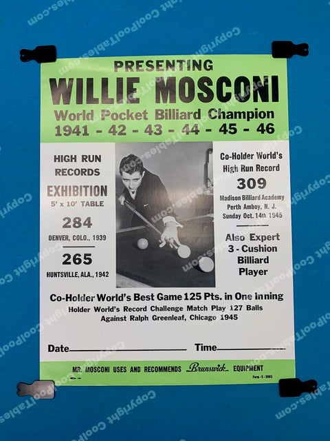 Billiard Poster - Willie Mosconi