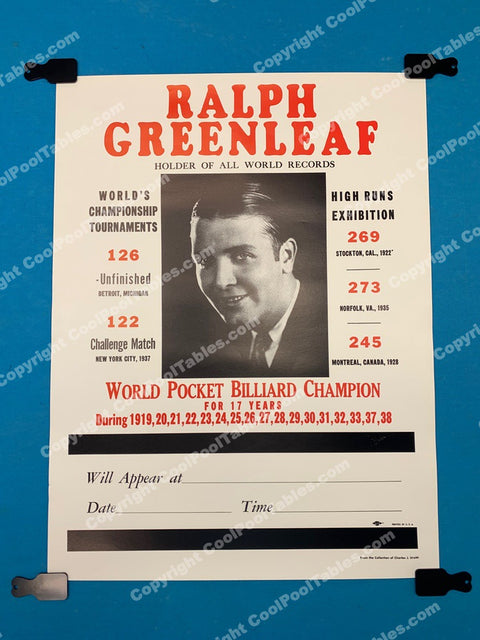 Billiard Poster - Ralph Greenleaf