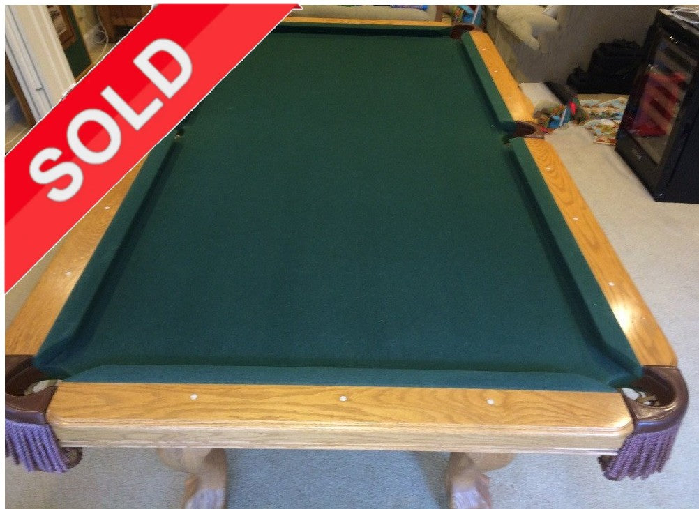 (SOLD) Used 8' Kasson Golden Oak Pool Table