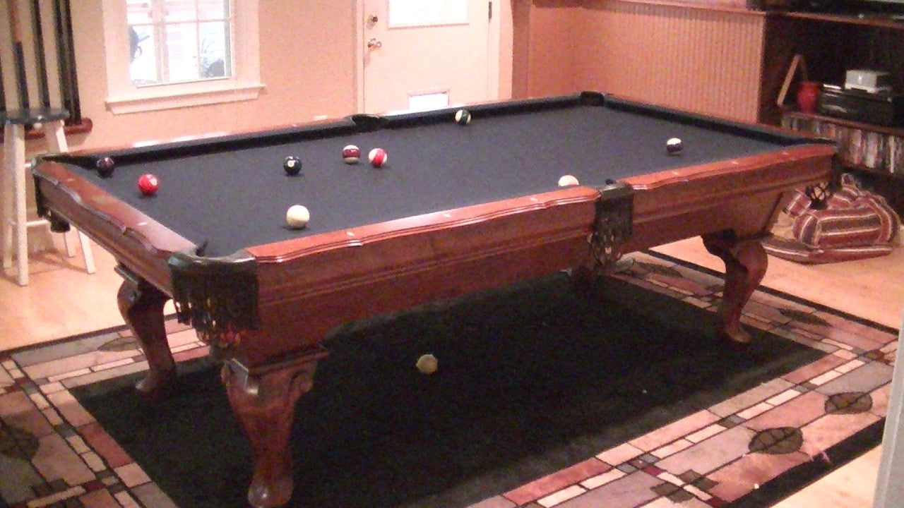 Used Gandy Pool Table Dark Cherry Billiards Table With - Gandy pool table