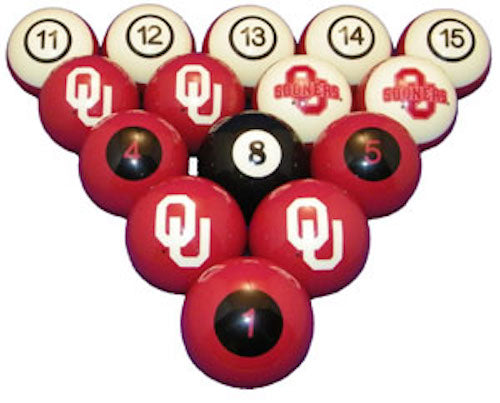 Oklahoma Sooners Premium Pool Ball Set