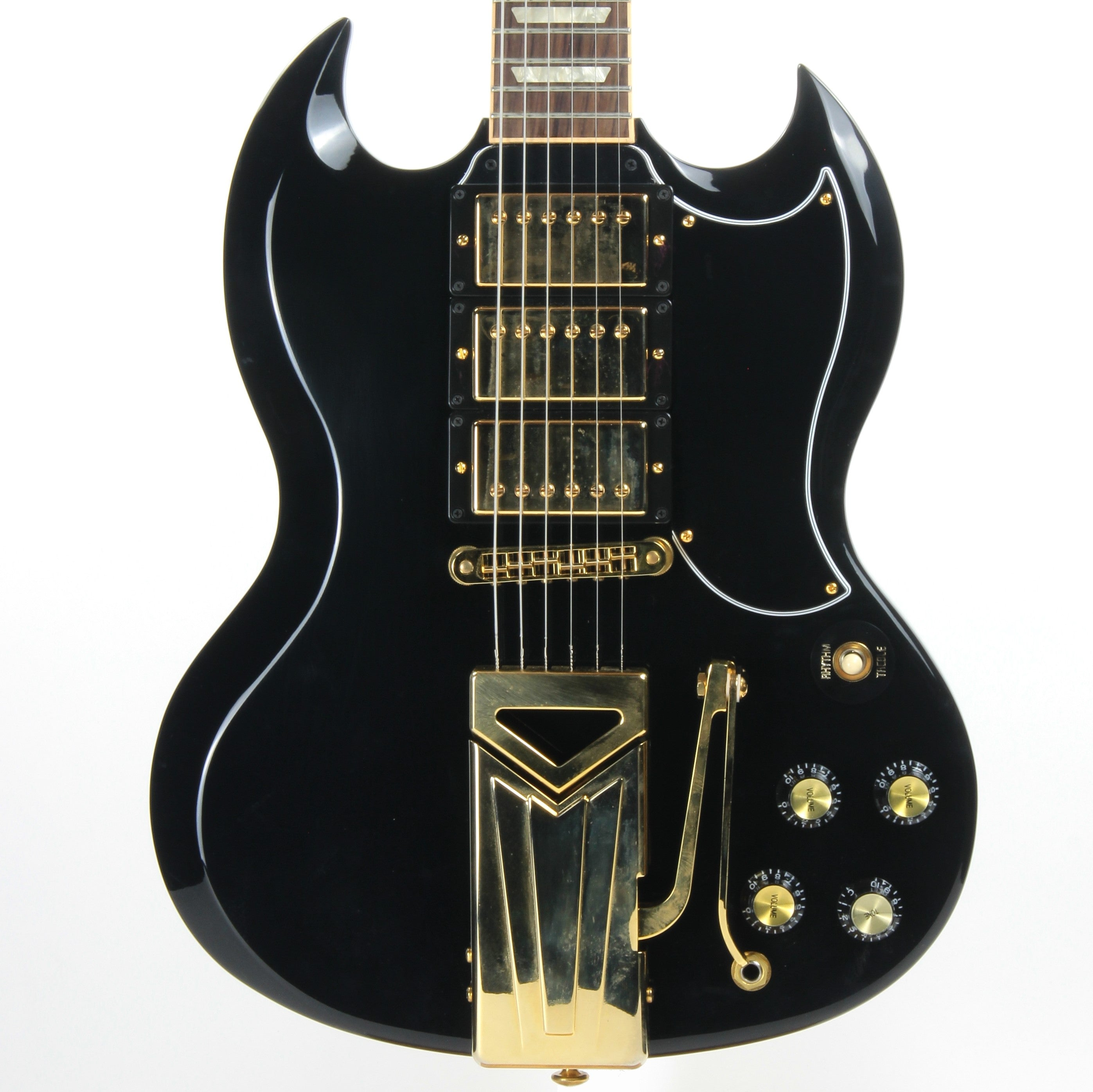2015 Gibson Limited Edition SGS3 Ebony Black 3 Pickup, Sideways Vibrola - SG Les Paul Standard Custom