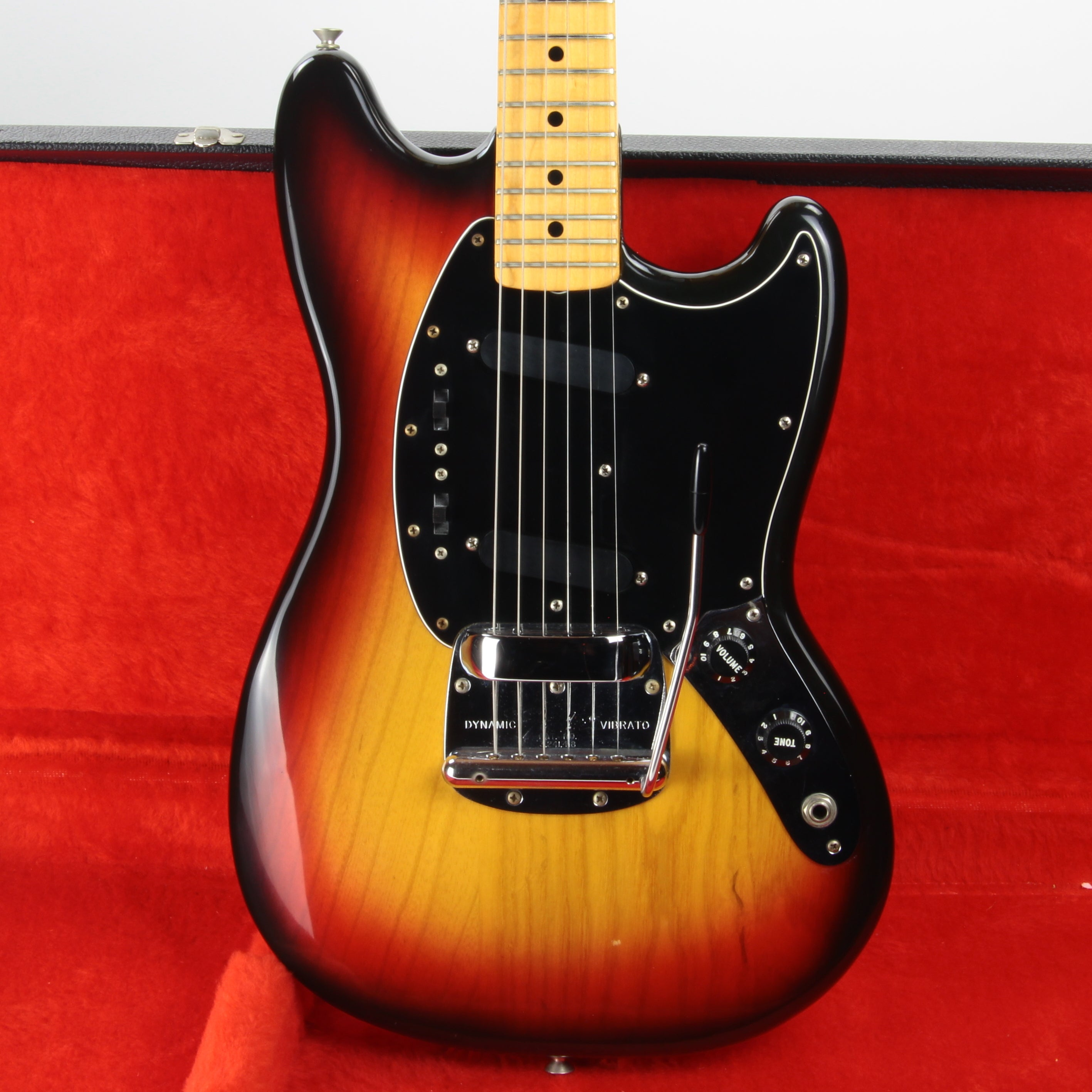 1976 Fender MUSTANG w/ Original Case, Tags - Sunburst Maple Neck Vintage 24