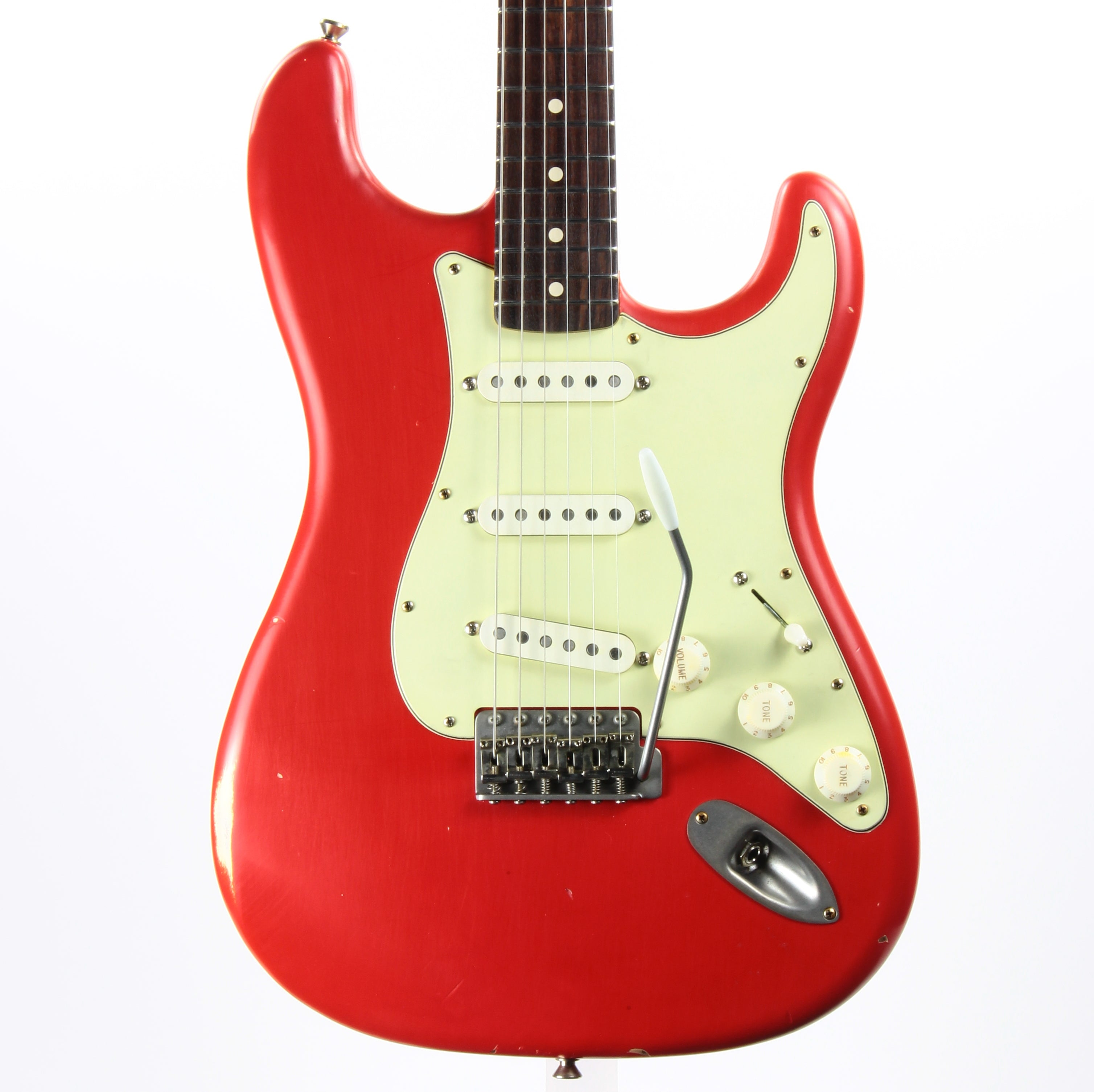 2020 Nash S-63 Fiesta Red Strat - Rosewood Fingerboard, Mint Green guard