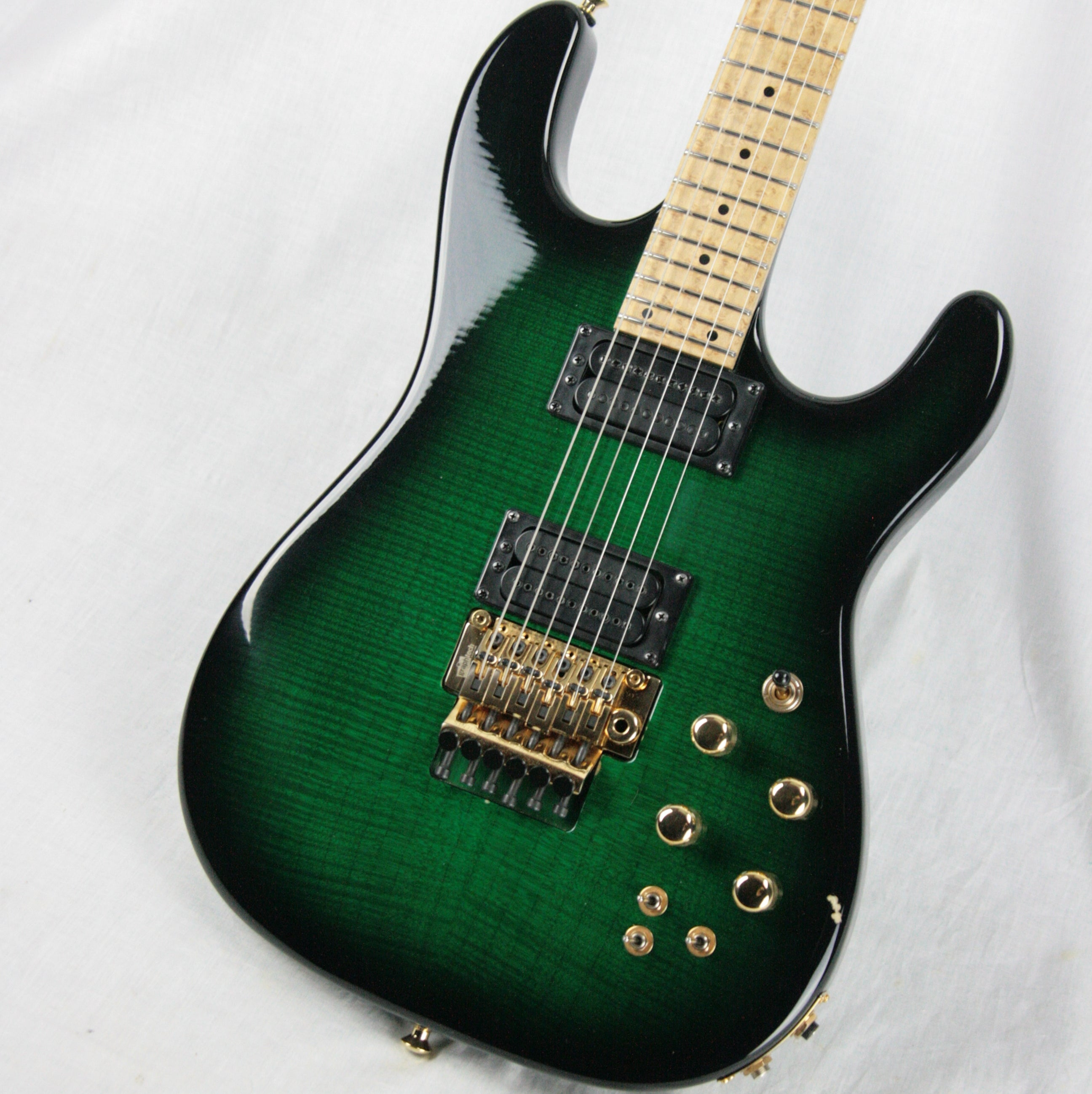 c. 2003 Carvin USA ST-300 Green Flametop w/ Graphtech Ghost Floyd Rose! Piezo Electronics!