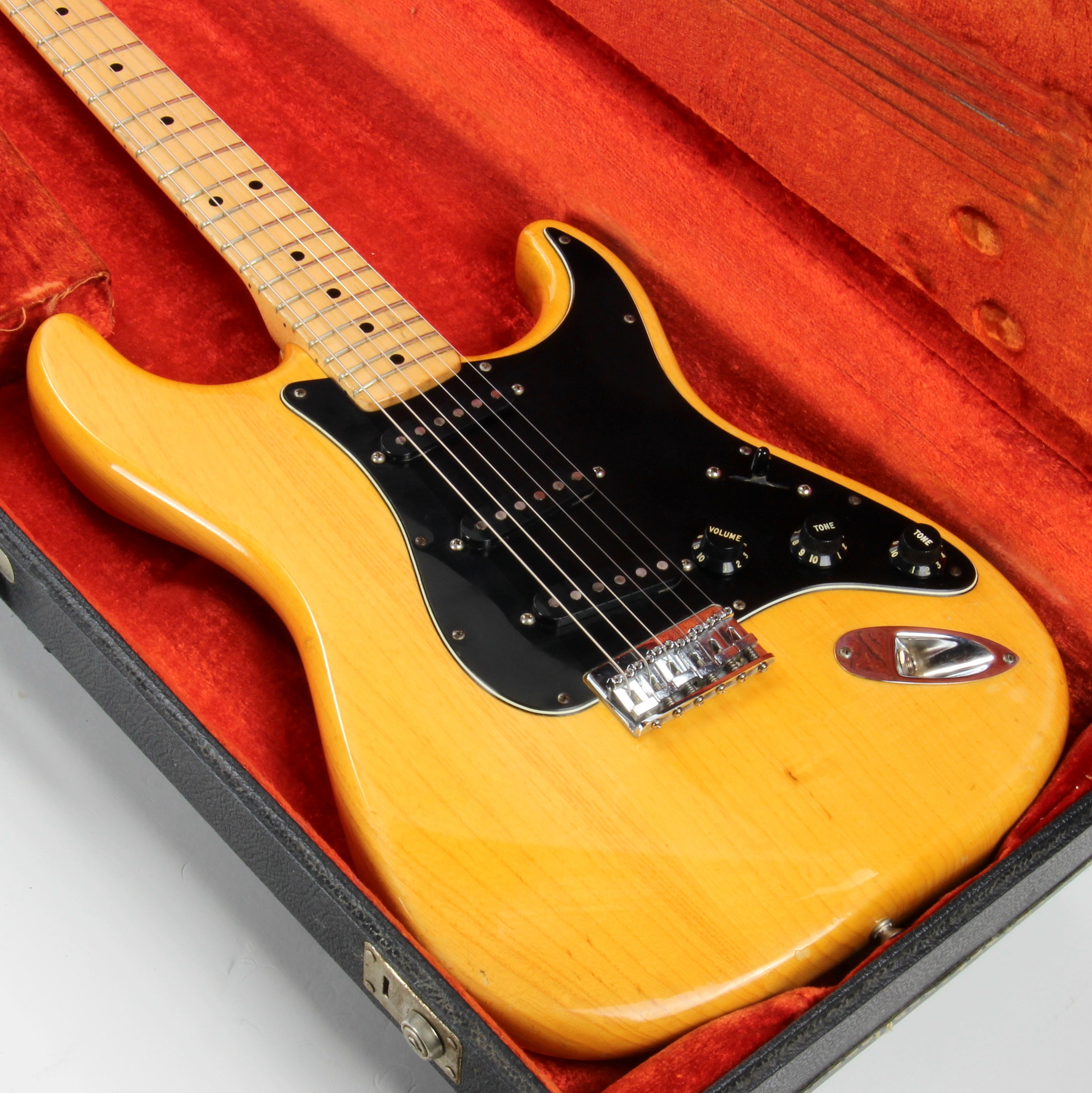 LIGHT! 1977 Fender Stratocaster FLAMED ASH Natural - Maple Neck Strat Vintage USA 1970's Hardtail
