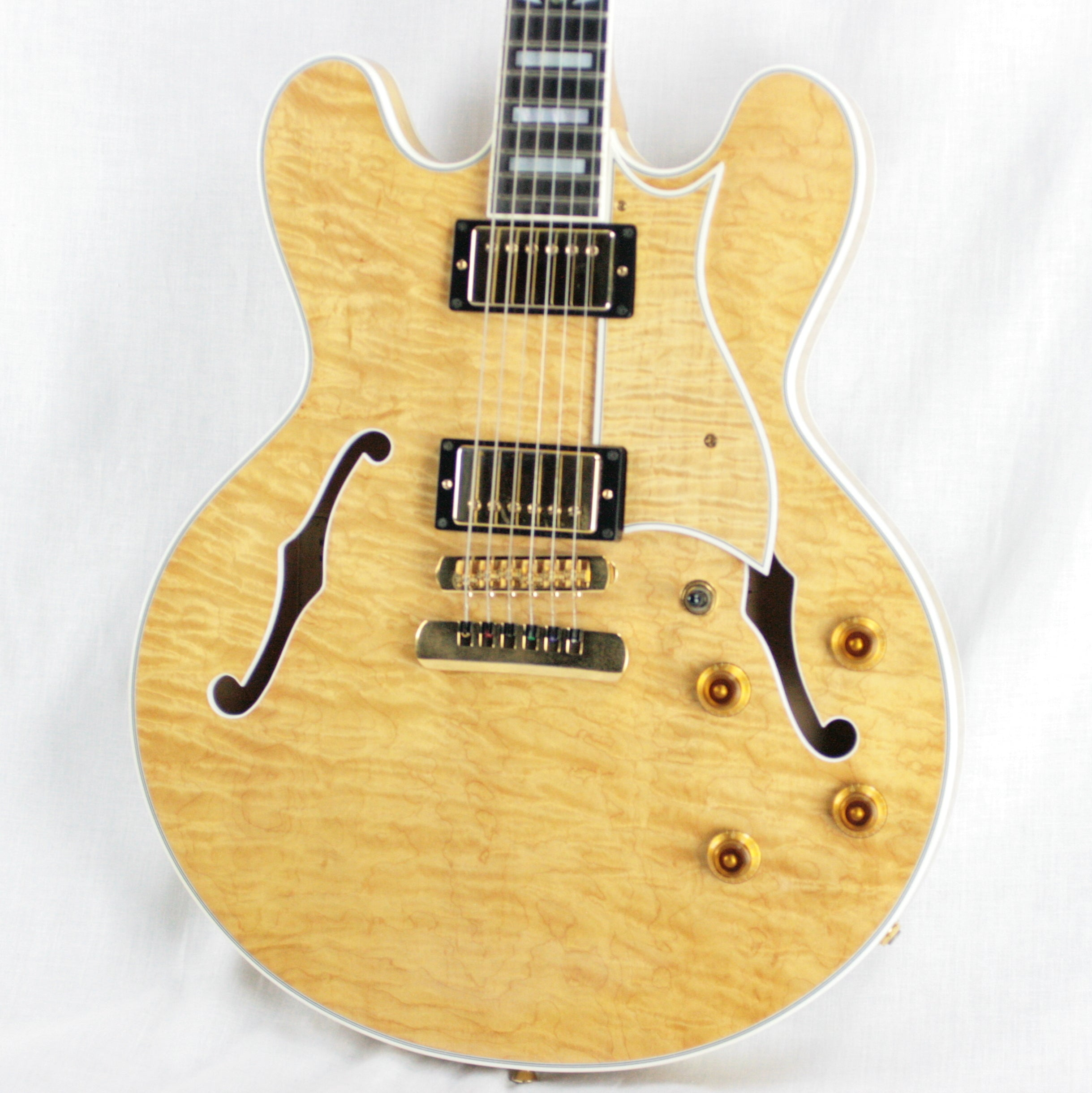 FLAME! 1996 Heritage H-555 Antique Natural Semi-Hollowbody Guitar! Made in USA Kalamazoo Factory!