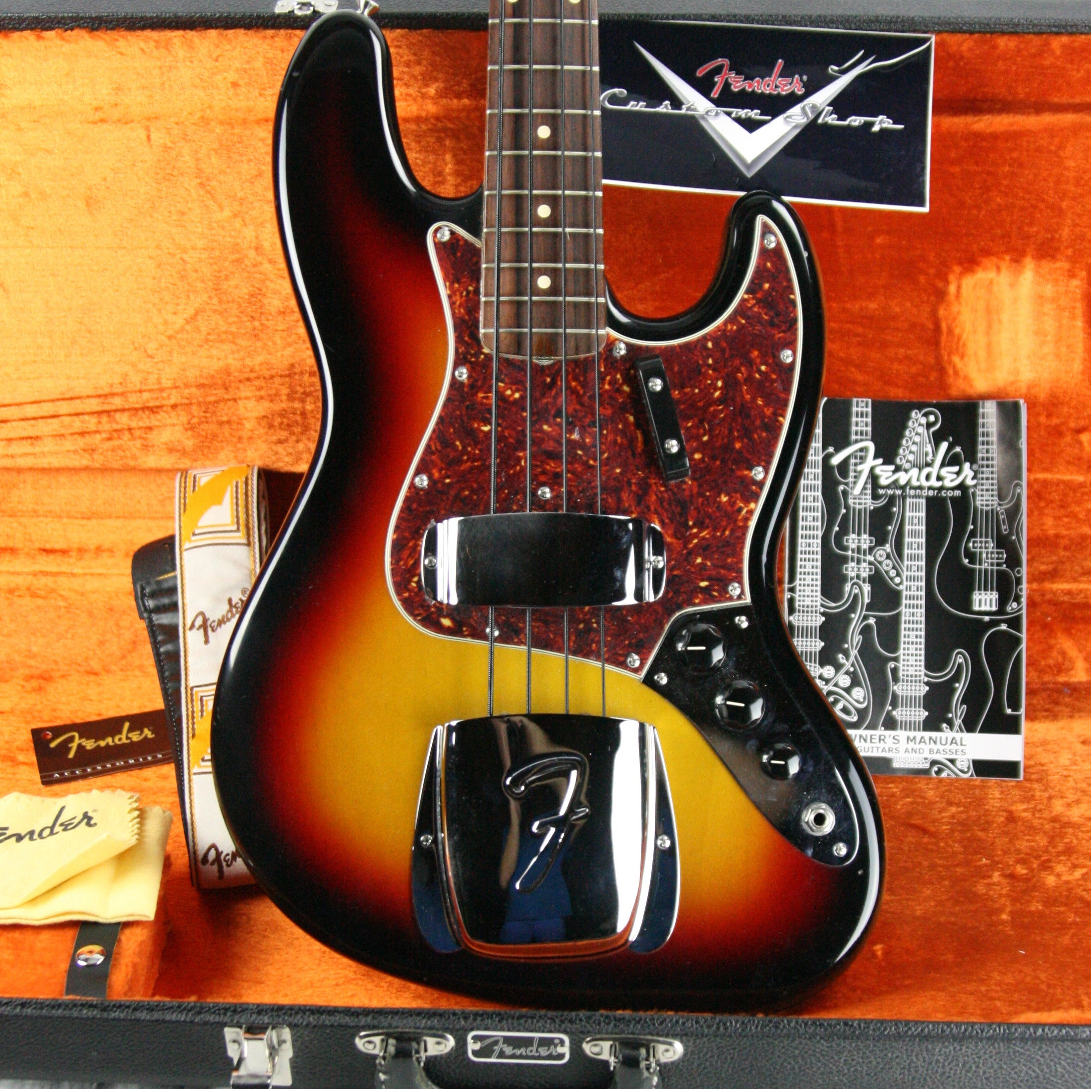 c. 2004 Fender Custom Shop 64 Reissue Jazz Bass! BRAZILIAN ROSEWOOD Board! 1964 Sunburst J p