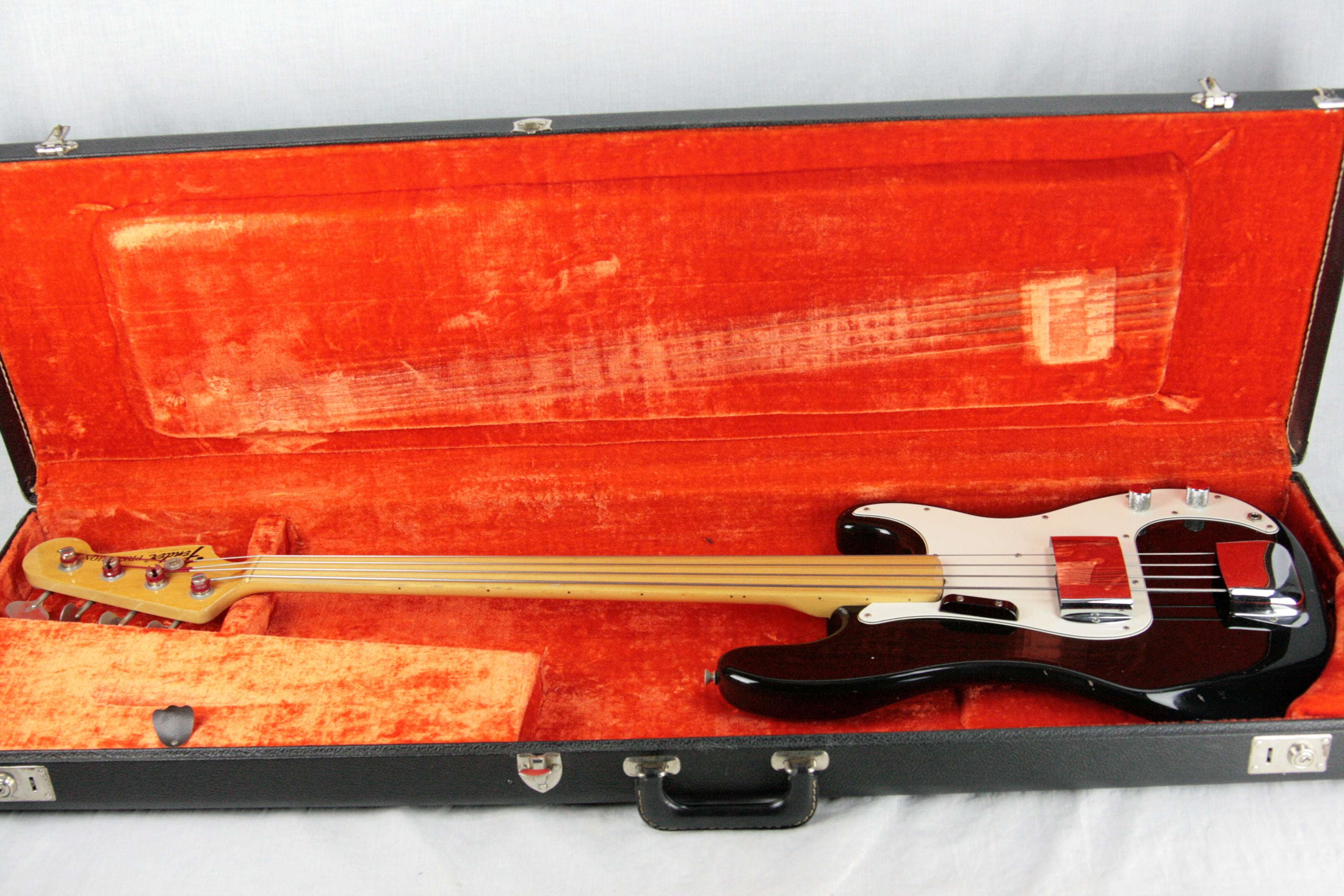 1974 Fender Precision Bass BLACK w/ Original Case! Fretless Maple Fretboard 1970's P jazz vintage