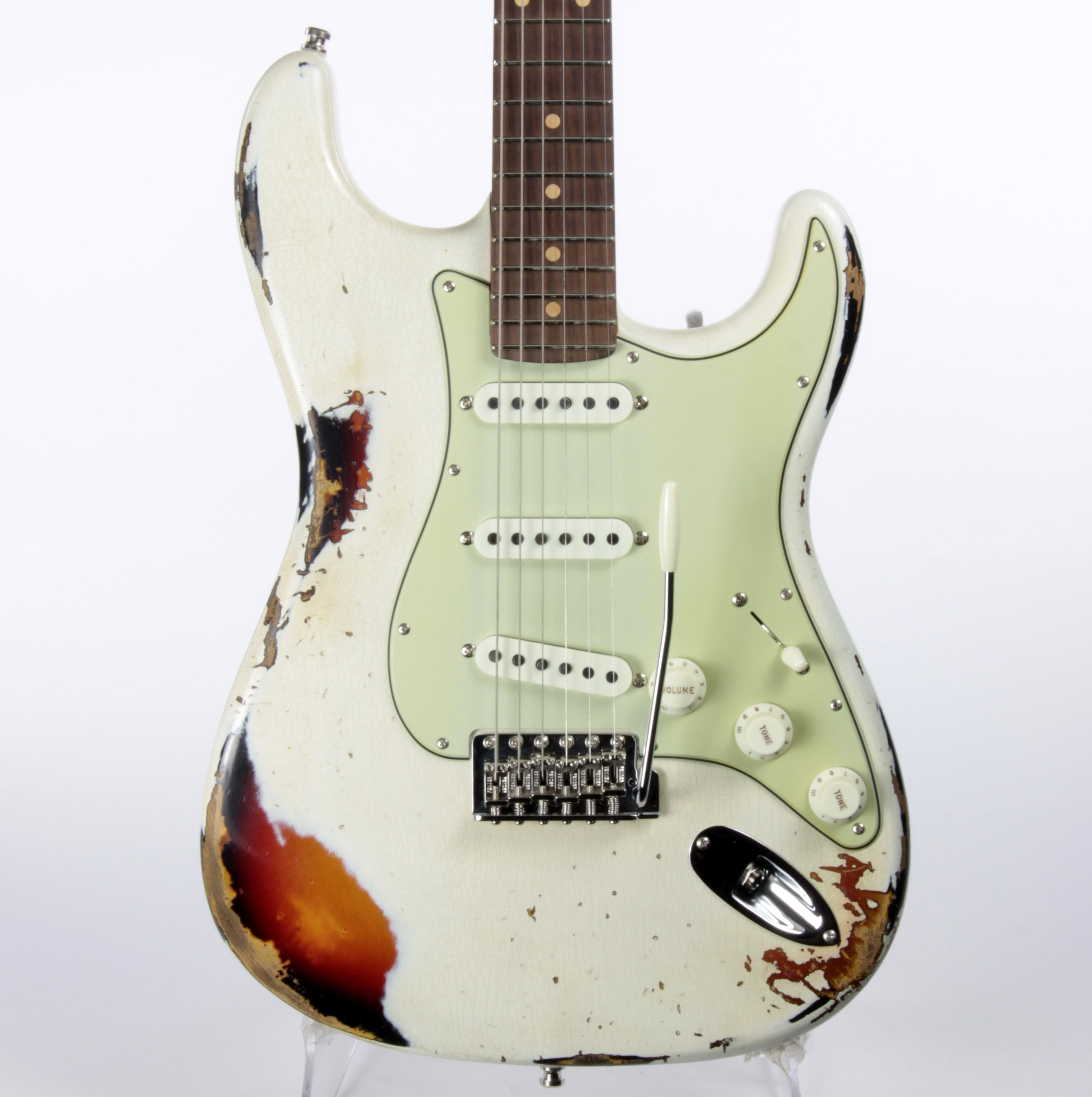 2020 Fender '64 Custom Shop GT11 Heavy Relic Stratocaster Roasted Flame Neck! Olympic White/Sunburst Sweetwater