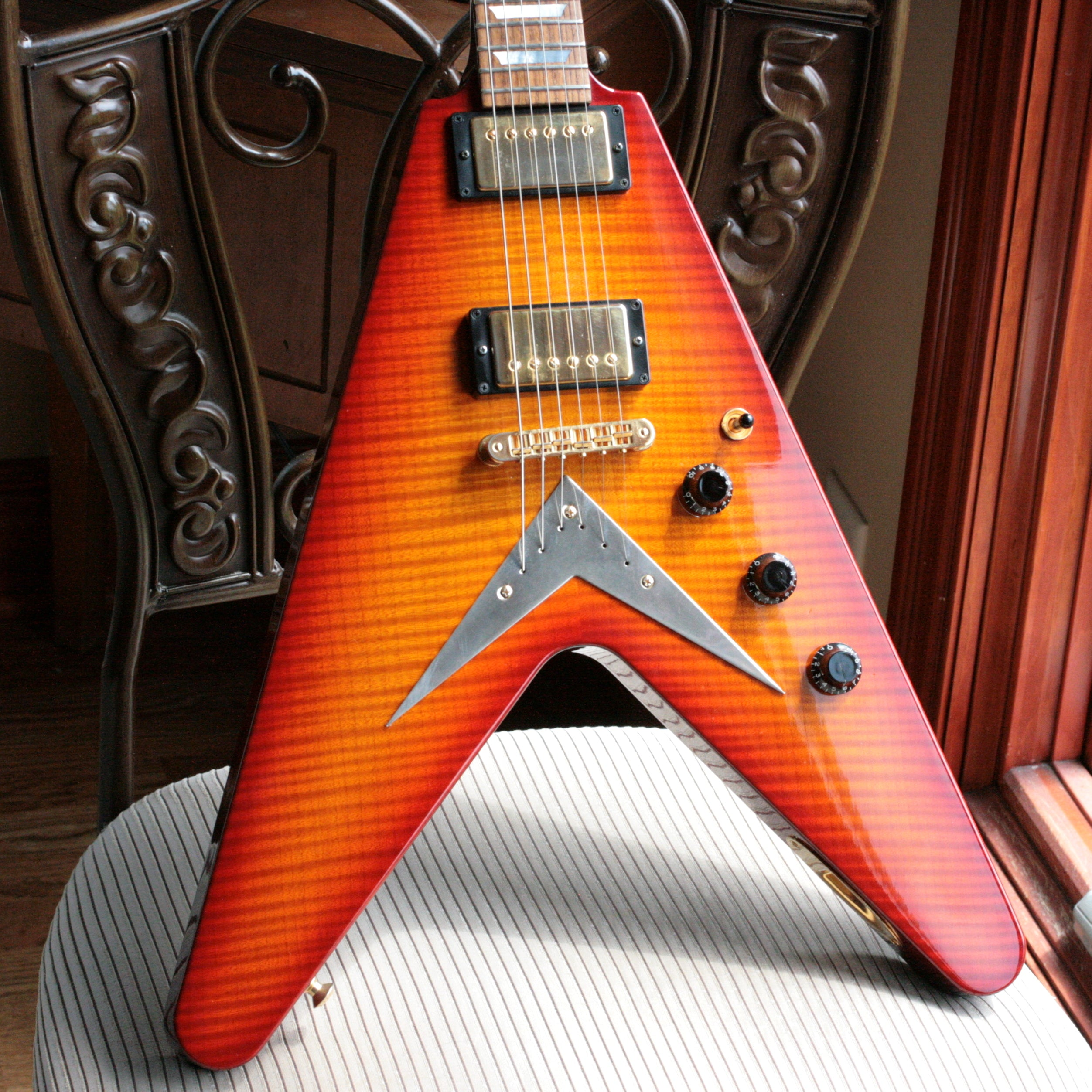 2004 Hamer USA KORINA Vector FLAMETOP '59 Burst Flying V Custom Order! ONE OF A KIND!