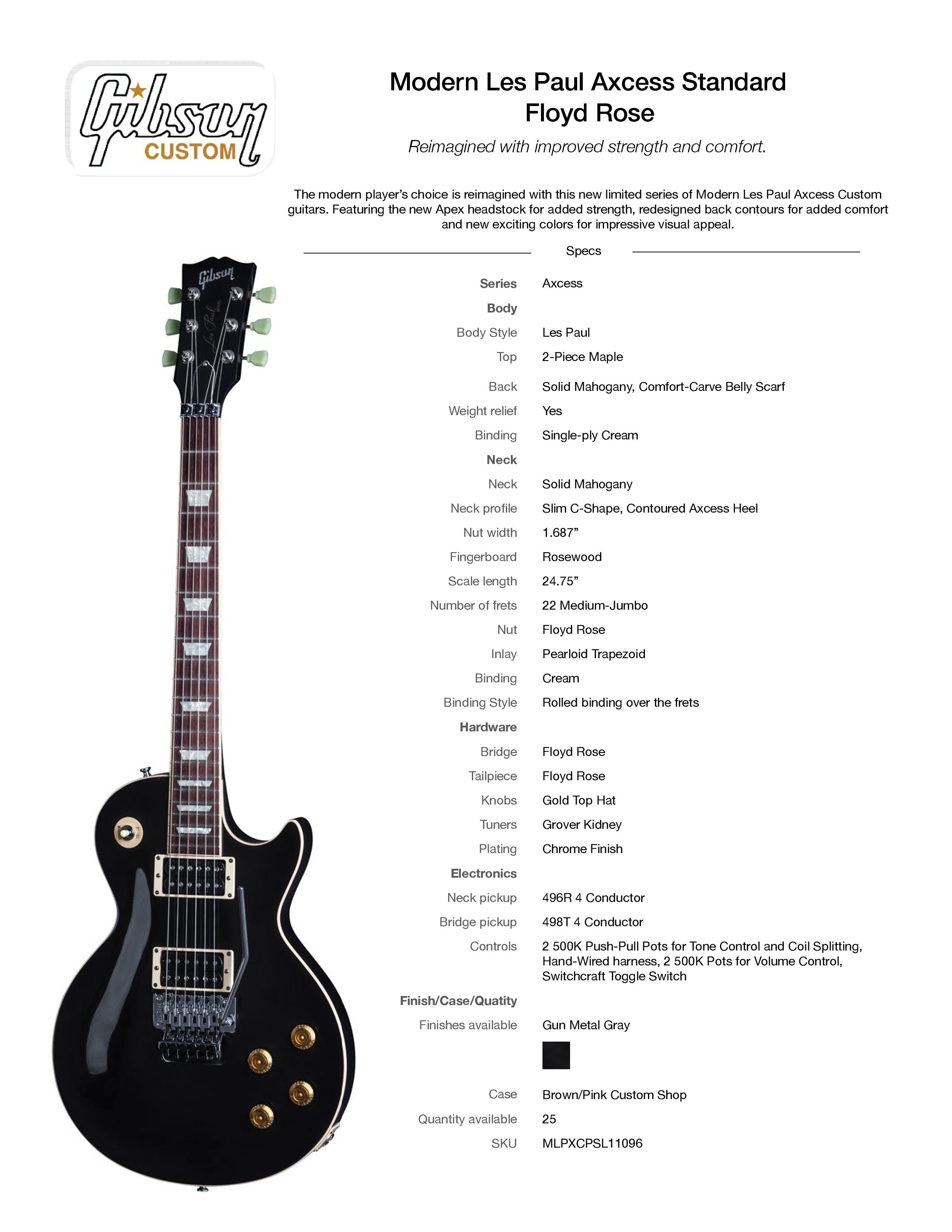 2017 Gibson Custom Shop Modern Les Paul Axcess Standard Floyd Rose Gun Metal Gray Rosewood