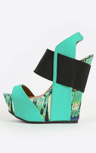 CoccaBee Shoes: Boots and Booties: Turquoise: Quirky booties with wedge heel