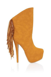 Shop trendy boots and cute booties at CoccaBee Shoes online. Brown mustard platform boots with platform heel. Accented with fringe back detail that is the perfect piece for the fall/winter wardrobe. Now shipping up to size 11 from Cocca Bee your exclusive online shoe boutique (shoetique).