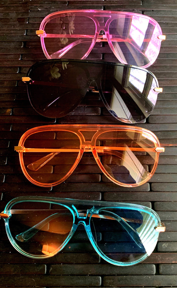 Shop trendy and cute colored aviator shades by CoccaBee. Available in pink, black, orange and blue.   CoccaBee offers the hottest and most trendies shades, sunnies and sunglasses.