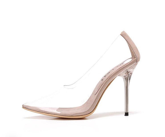 CoccaBee Shoes-Shop Heels-Cindy-Nude, clear heel,  sexy and sleek perspex stiletto pump