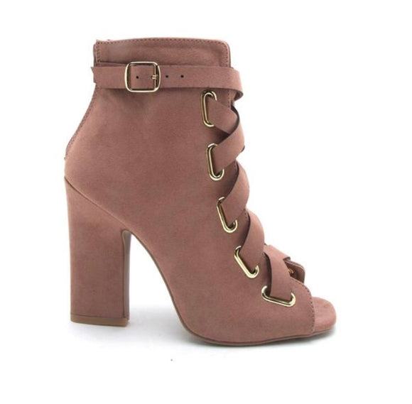 Shop Bonnie at Cocca Shoes: Blush colored cross band cute block heel booties