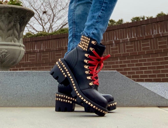 Shop Studded Combat Boots at CoccaBee Shoes. This trendy contemporary motorcycle boot a statement boot for your summer fits