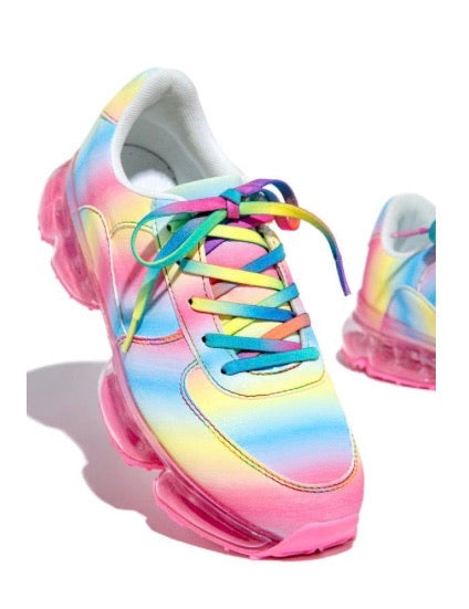 Made for those with hustle and high hopes.  Sporty comfort and a fun groovy twist. This lace-up fashion sneaker features an athletic design in a contemporary tie-dye print. Shop Tye online at CoccaBee Shoes.com.