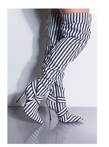 Shop Stripped Thigh High Boots at CoccaBee Shoes