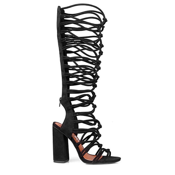 Chunky blocked heel caged gladiator sandal with back zipper