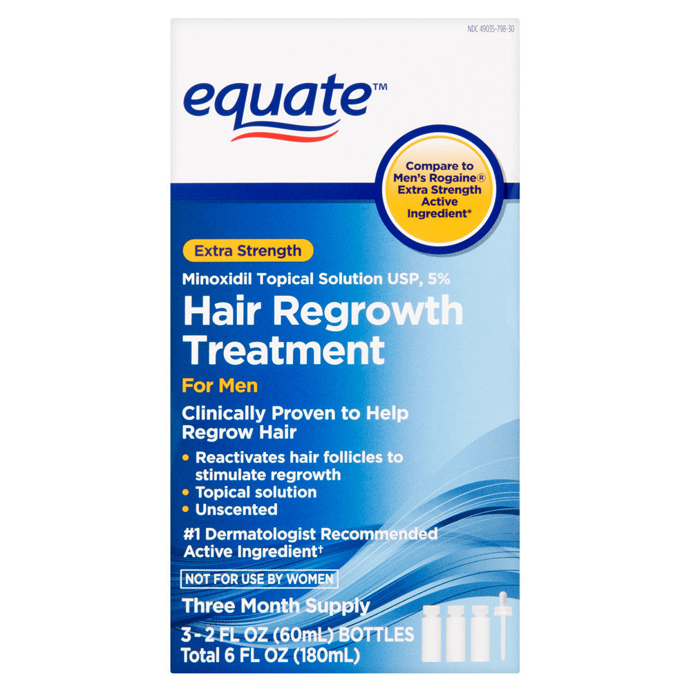 Equate Hair Regrowth Treatment for Men 5% Minoxidil Topical Solution 3  Month Supply