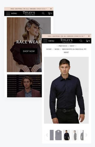Titleys department mobile shopify store