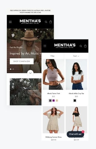 Menthas mobile shopify store