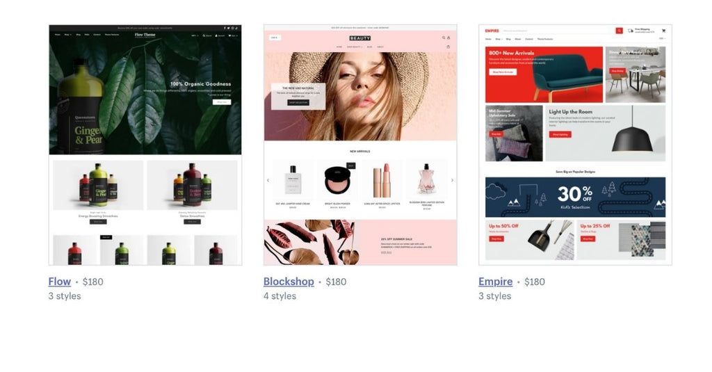 Shopify themes options ecommerce