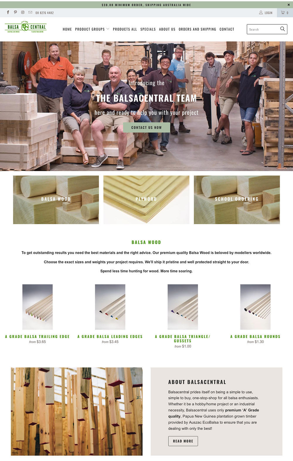An improved Balsa central's webpage showing different samples of wood and a happy team in the header