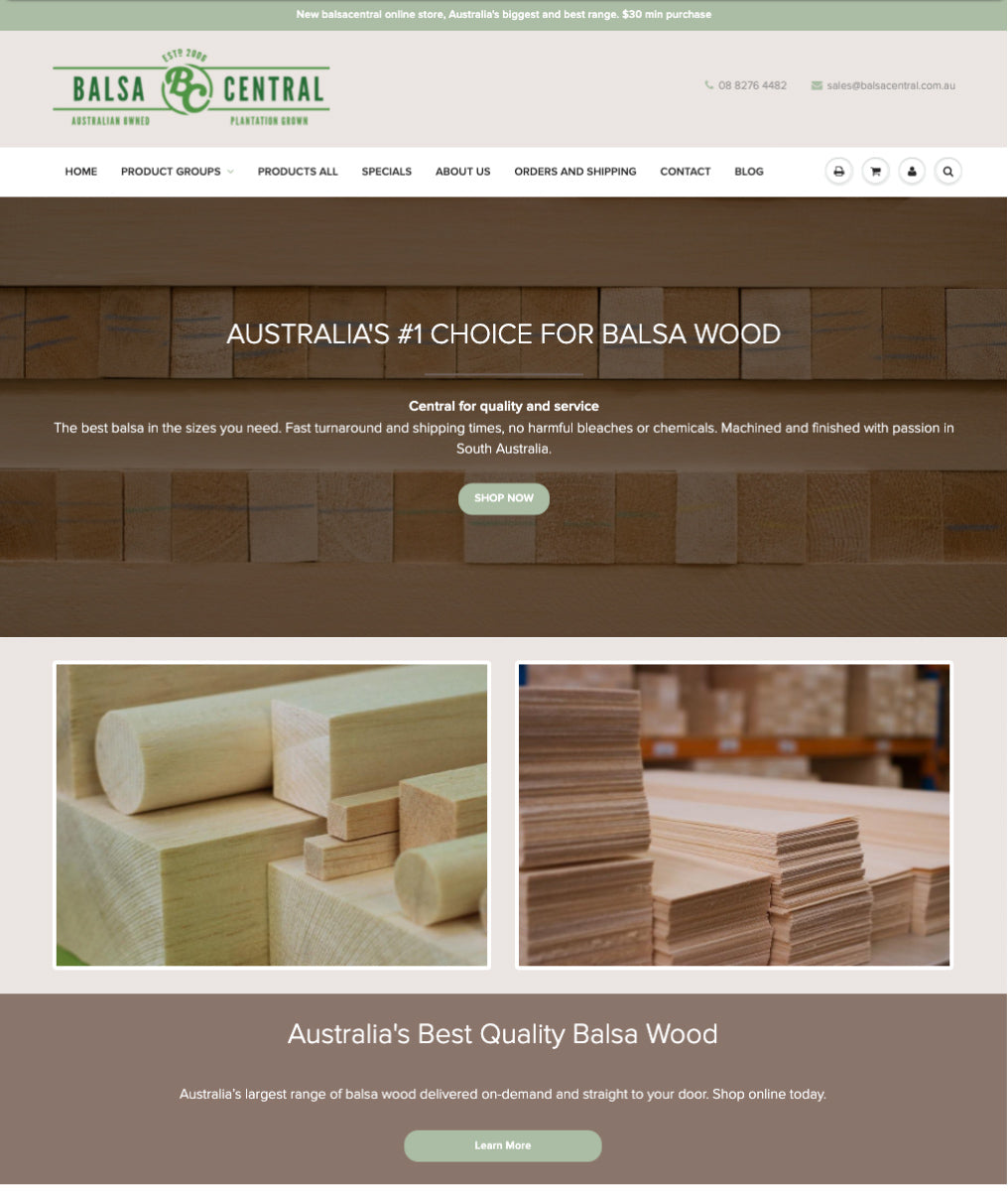 Balsa central's webpage showing samples of their balsa wood and two ctas to shop now or learn more