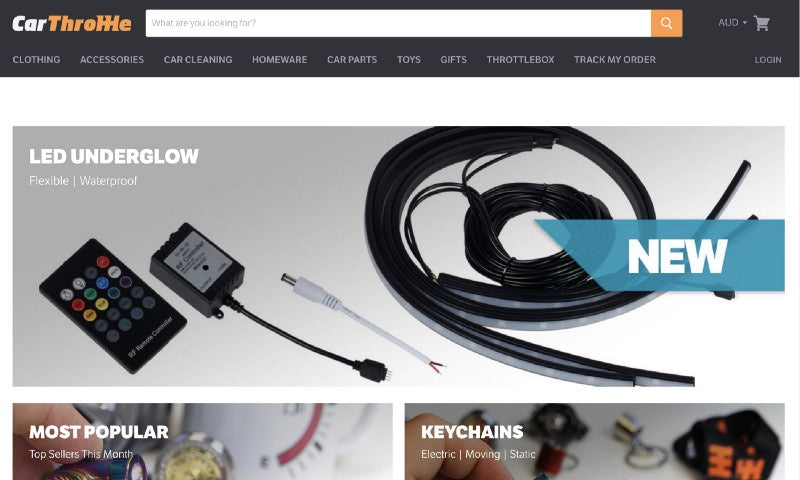 CarThrottle homepage header with featured led underglow