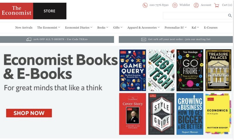 The Economist store header featuring books and ebooks