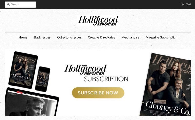 Hollywood reporter header showing magazine's physical and digital covers with a subscription button