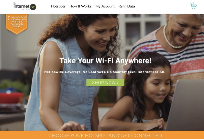 InternetGo homepage header with a family looking at a screen