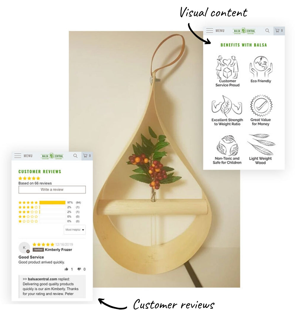 Examples of redesigned visual content and customer reviews from Balsa Central webpage