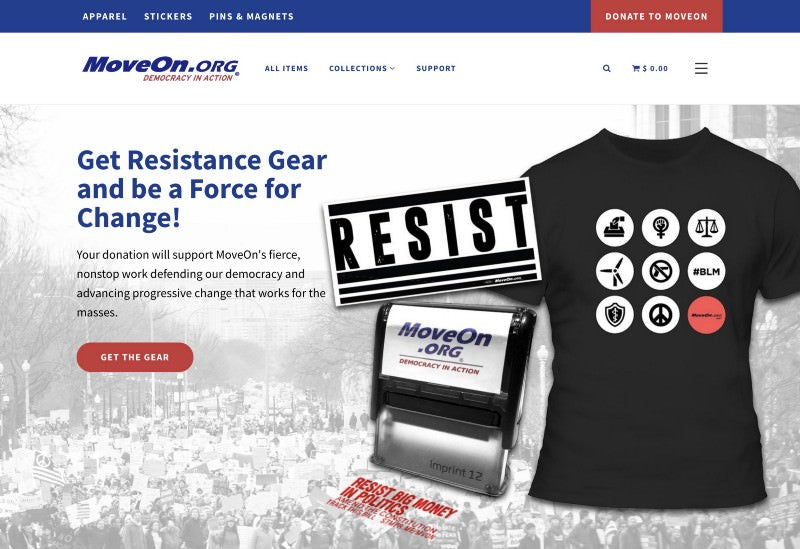 MoveOn shop header with featured gear and a cta to purchase