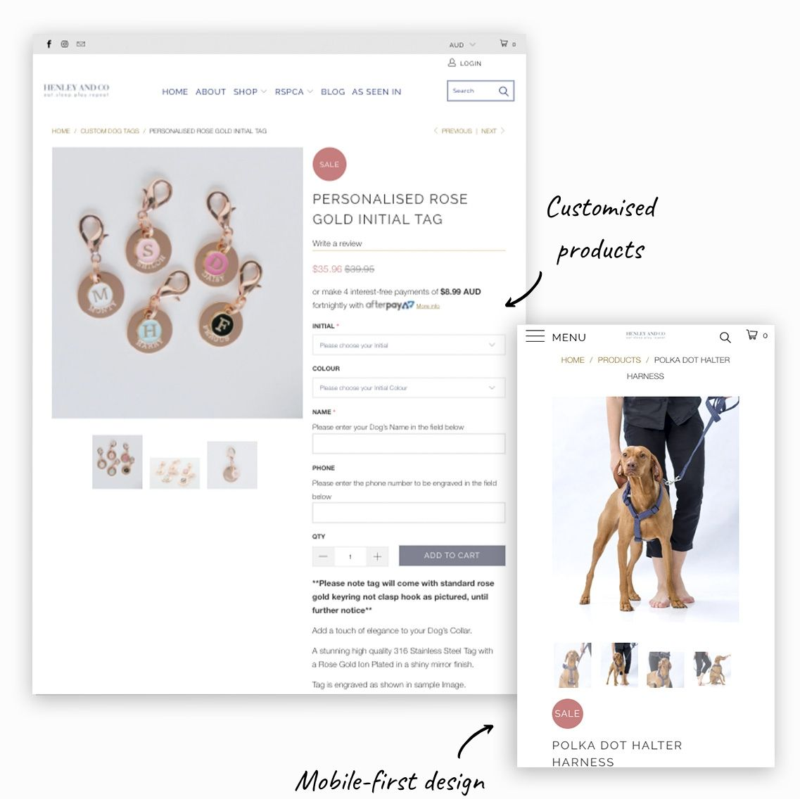 Examples of redesigned customised products feature and mobile-first design for Henley and co