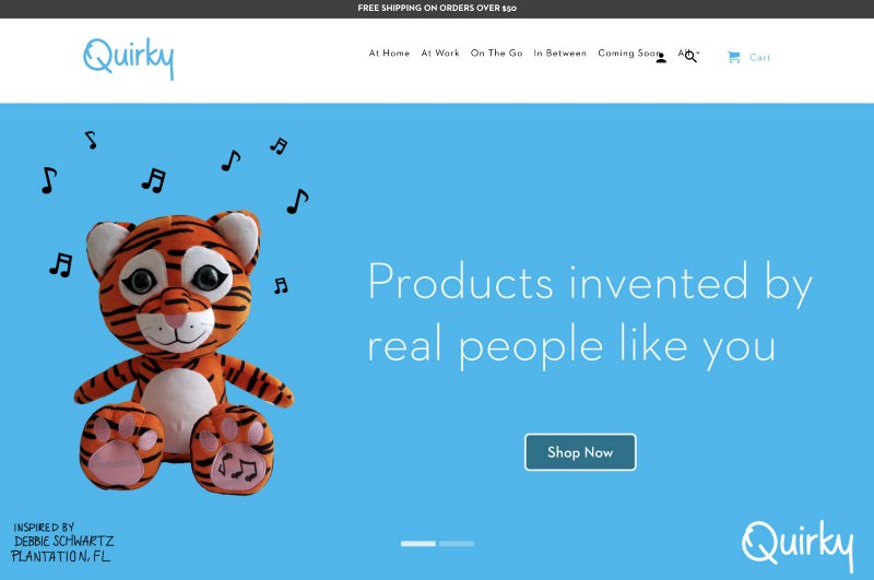 "Quirky store header with a plush tiger and value prop ""Products invented by real people like you"""