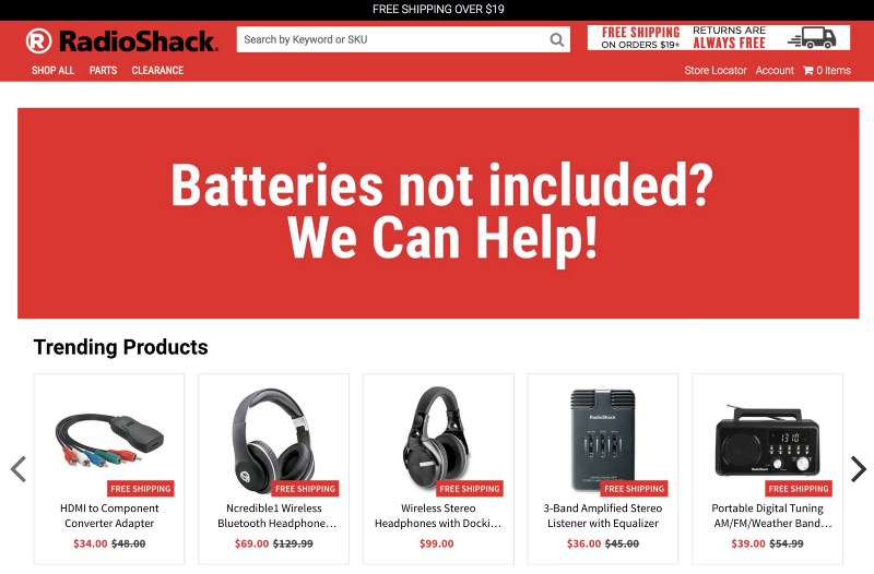 Radio Shack store with trending products