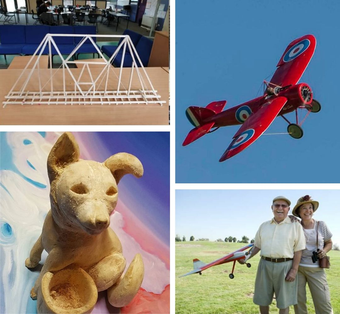 Three different wooden product - a sitting dog, railway tracks and a wooden airplane with a happy older couple holding it