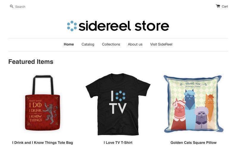 Sidereel store homepage with a bag, shirt and pillow as featured items