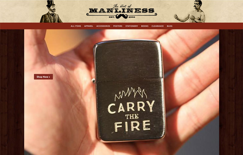 The Act of Manliness store header with an engraved zippo Carry the fire